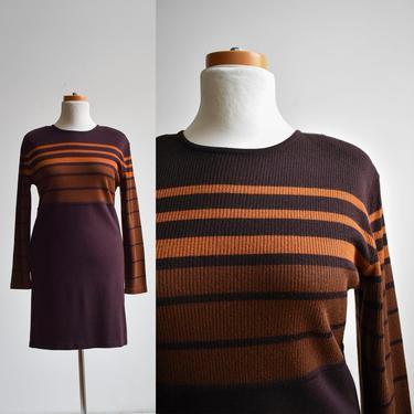 Brown Longsleeve Striped Sweater Dress by milkandice