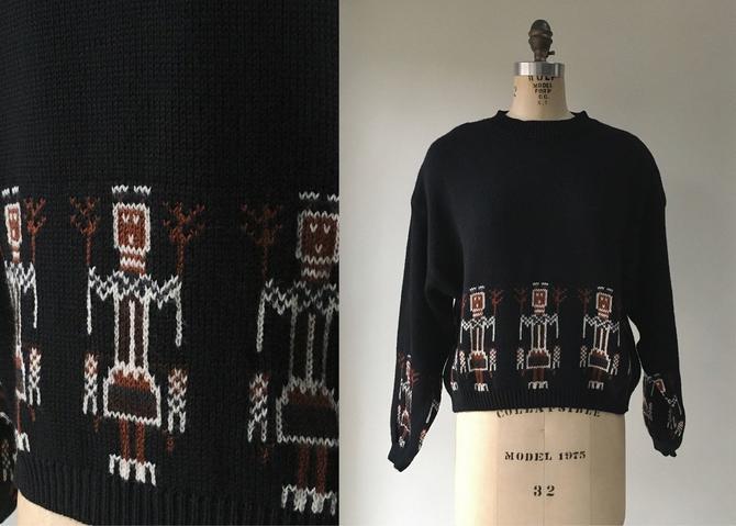 1980s Benetton Black Knit Oversized Cropped Sweater Stick Figures by hemlockvintage
