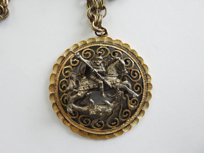 Tortolani Pewter St. George Slaying the Dragon in Gold tone Frame Medallion on Chain by LegendaryBeast