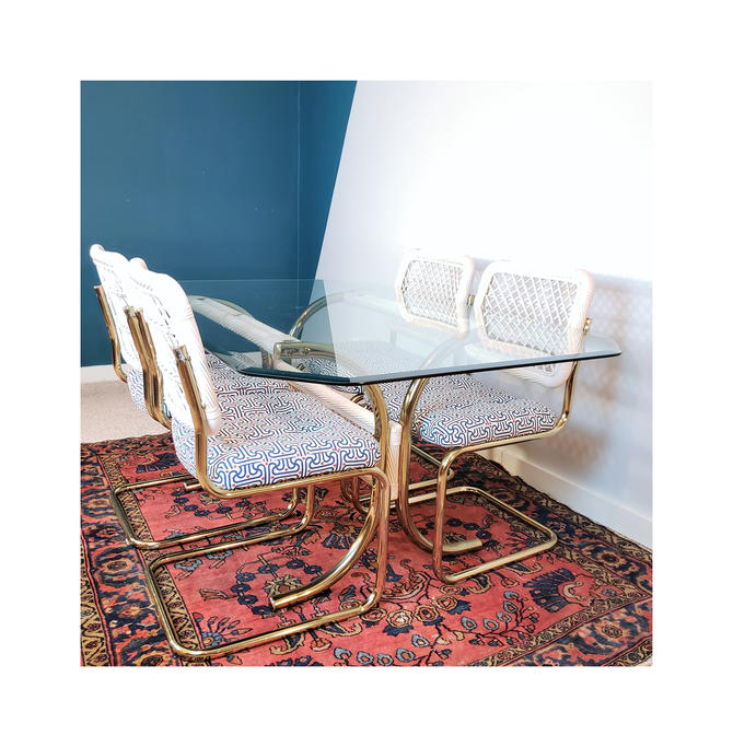 Local PICK-UP Only! Vintage Brass & Wicker Dining Table Set |  MCM Glass Top Table and Marcel Breuer Cesca Style Cantilever Chairs by SavageCactusCo