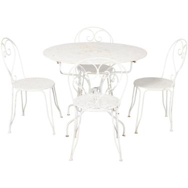 Antique French Wrought Iron White Patio Outdoor Dining Set by StandOutSpaces