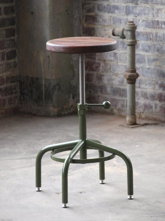 Walnut Industrial Stool Factory Green Adjustable Drill Press Stool bar stools by CamposIronWorks
