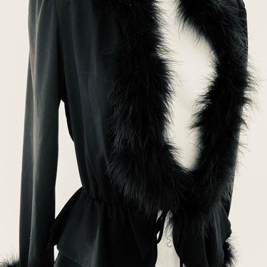 70s Vintage fur top, plunging neck dress top, women's black tie top, hostess loungewear size small by RETROSPECTNYC