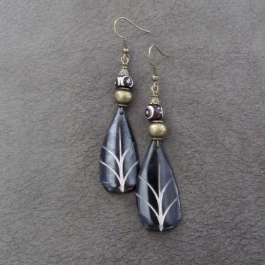 Carved bone earrings, bronze tribal dangle earrings, exotic bold statement earrings, African Afrocentric earrings, bohemian leaf earrings by Afrocasian