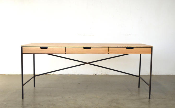 Wenworth desk - Oak and Wax steel - Free Shipping by HerbsFurniture