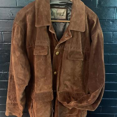 Vintage Chevignon Suede Leather Mens Sportsman Coat Made in Paris France Western Style by TheFINDstuff4thehome