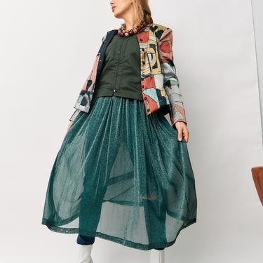 T/GRE ET T/GRE Sheer Metallic Maxi Dress, Size XS/S