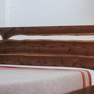 Live Edge Bed w split headboard by MakersWoodworks