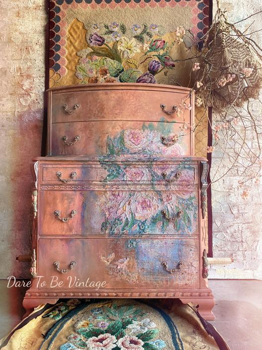Floral Hand Painted Dresser - Boho Chic Dresser - Floral Bedroom Furniture - Painted Furniture - Bedroom Furniture by DareToBeVintage