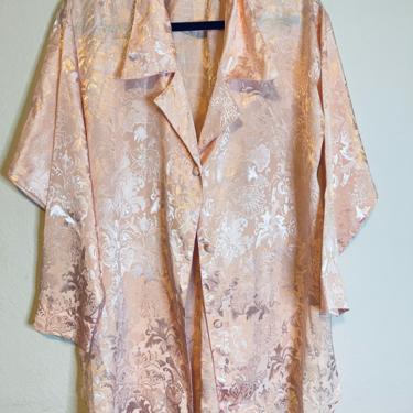 2) vintage pink jacquard long sleeve satin texture button down kimono style sleepwear Victoria's Secret by GRACEandCATS