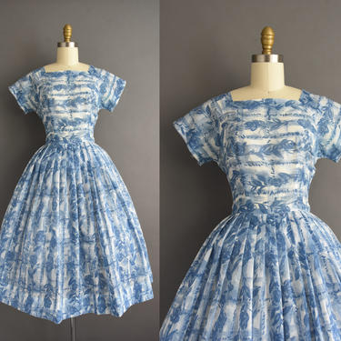 vintage 1950s | Beautiful Blue Floral Stripe Print Full Skirt Cotton Day Dress | Small | 50s dress by simplicityisbliss