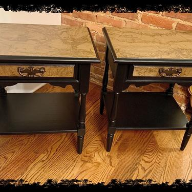 Set of two Black Vintage Map End Tables Nightstands