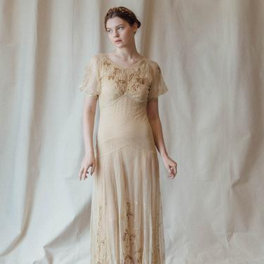 Rare c. 1930s embroidered silk tulle net gown OOAK antique garden gown by DevoreVintage