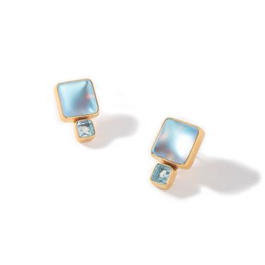 Luminite and Blue Topaz Stud Ear
