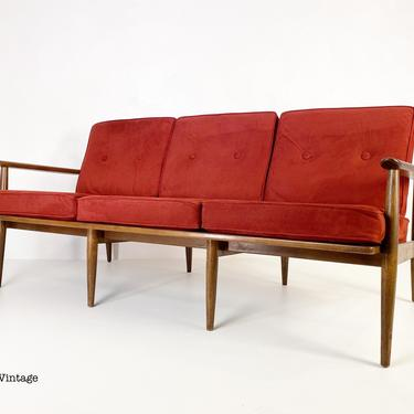 Solid Walnut Framed Sofa with Cushions by Baumritter, Circa 1960s - *Please see notes on shipping before you purchase. by CoolCatVintagePA