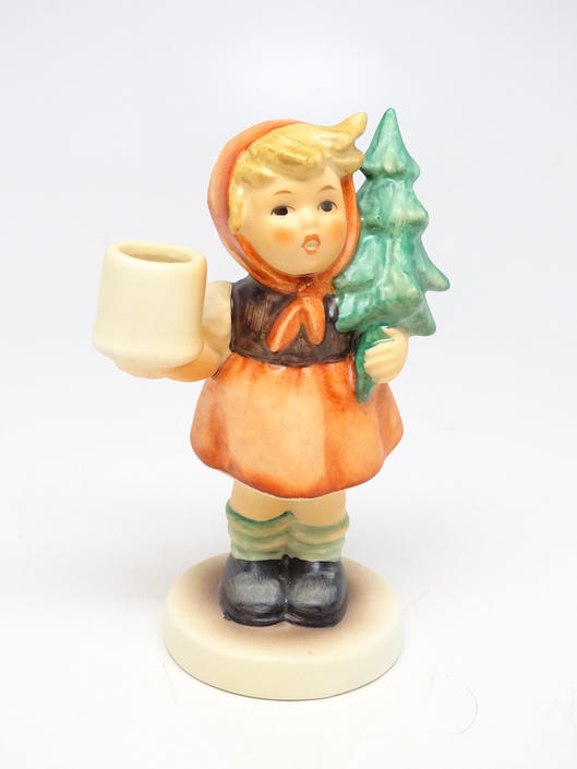 Vintage Hummel Candle Holder Girl with Fir Tree #116, Goebel W. Germany, Hand Painted for Nativity Putz, TMK 5 by exploremag