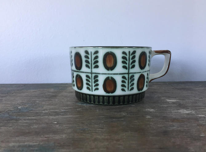 Boch Noix Hand Painted Coffee Cup from Belgium c.1966 by ModandOzzie