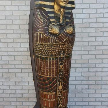 Egyptian Revival Style King Tut Life Size Sarcophagus Statue Bookshelf