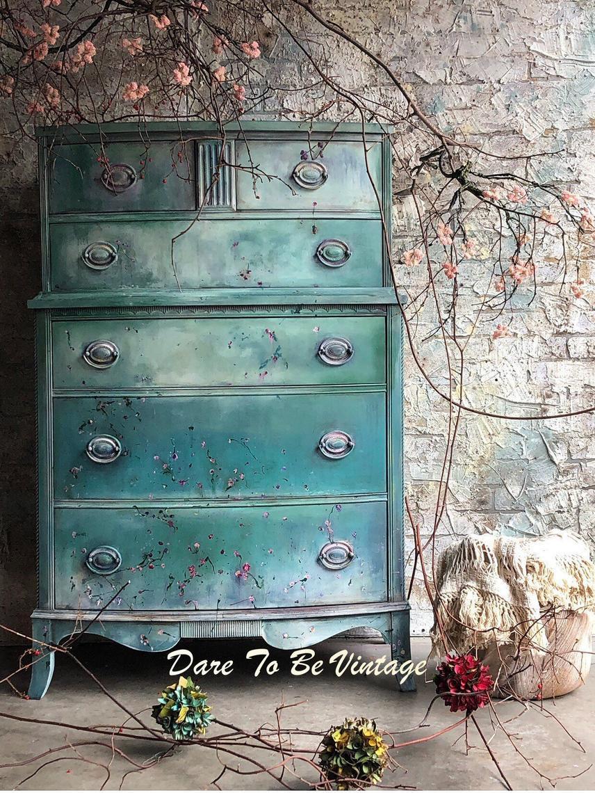 Painted Bohemian Dresser Vintage Dresser Shabby Chic