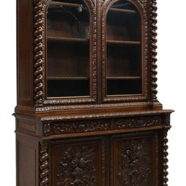 Antique Bookcase / Sideboard, Carved, French Henri II Style Carved Oak, 1800's!