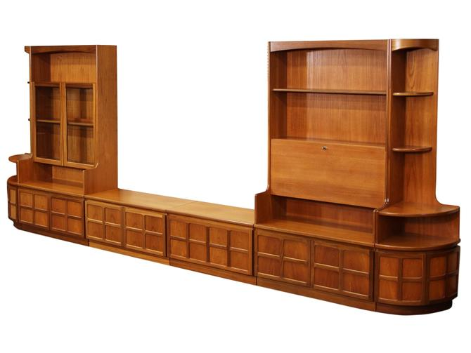 Mid Century 4 Piece Teak Wall Unit By Nathan Furniture by RetroPassion21