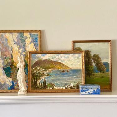 Mediterranean Seascape Oil Painting Original Signed Coastal Artwork by ModRendition