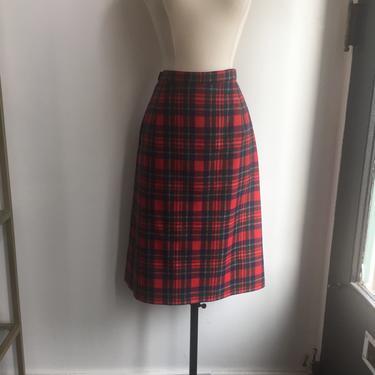 Classic Vintage 60's Red PLAID PENDLETON PENCIL Skirt / Straight + Kick Pleat + Lined by CharmVintageBoutique