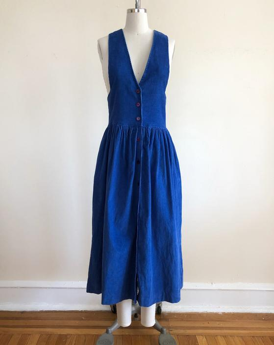 Bright Blue Corduroy Pinafore Dress - 1980s by LogansClothing