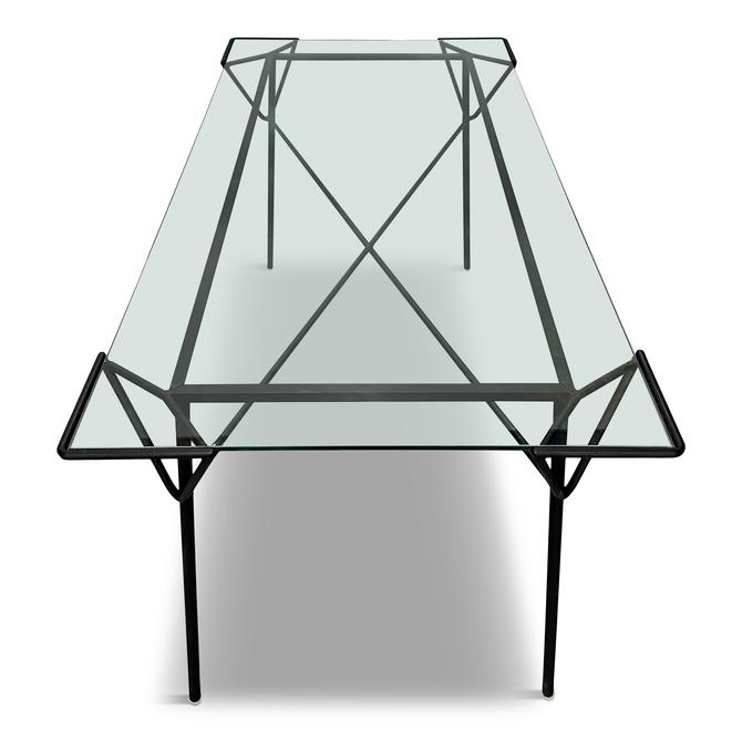 Mid Century Geometric Iron and Glass Dining Table