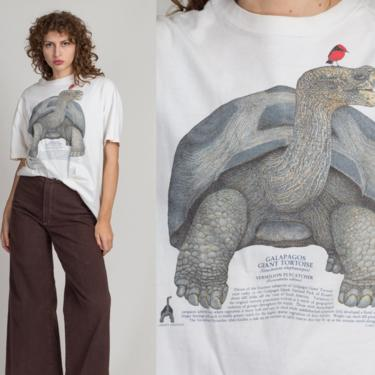 Vintage Galapagos Giant Tortoise Species T Shirt - Extra Large   90s White Turtle Graphic Animal Tee by FlyingAppleVintage
