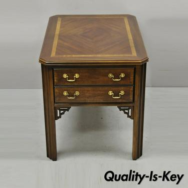 Lane Chinese Chippendale Mahogany Inlay Banded Top One Drawer Side End Table