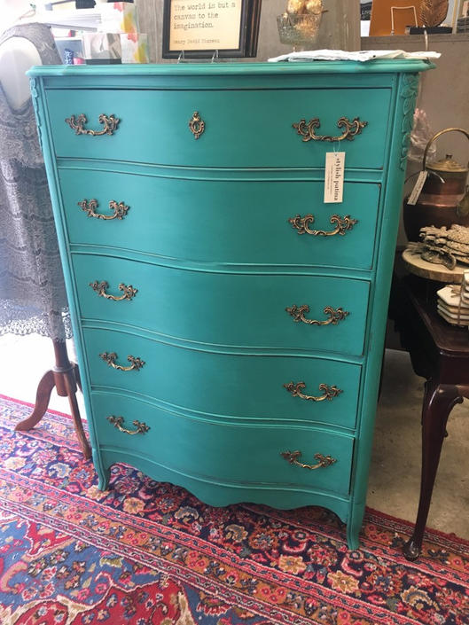August- Tall Five Drawer Provincial Dresser Carved Detail by StylishPatina