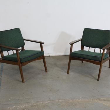 Pair of Mid-Century Lounge Chairs Walnut Open Arm Lounge Chairs by AnnexMarketplace