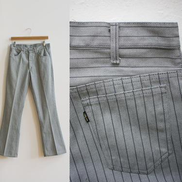 1960s Levis Slacks / Vintage Gray Vertical Striped Jeans / Striped Levis / Vintage Big E Pants / Mid Rise 60s Levis / Vintage Levis 30x32 by milkandice