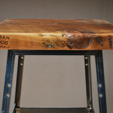 """Reclaimed Wood and Steel Industrial Shop Stool. Made in Chicago. Choose wood finish and height - 18""""H table, 25"""" counter, or 30"""" bar height. by UrbanWoodGoods"""
