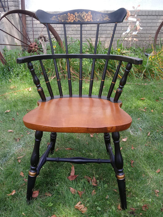 VINTAGE Dining Chairs, L. Hitchcock Black Harvest Arm Chairs, Farmhouse Decor, Home Decor  SET OF 4 by 3GirlsAntiques