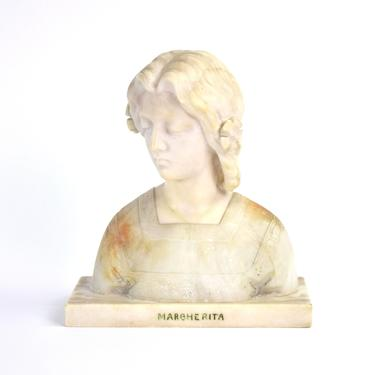 Antique Carved Alabaster Bust Margherita of Italy by Giuseppe Bessi by PrairielandArt