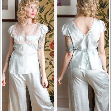 1940s Pajama Set // Miss New Yorker Rayon 2pc Loungewear // vintage 40s pjs by dethrosevintage