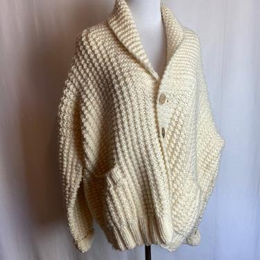 Super oversized style handmade wooly Natural hue oversized cardigan sweater~ chunky cable knit 80s 90s minimalist preppy boxy by HattiesVintagePDX