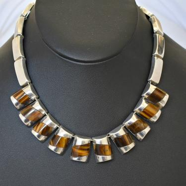 50's Taxco sterling tigers eye Modernist bib necklace, striking chunky brown chatoyant stone 925 silver BR Hecho Mexico Eagle 3 statement by BetseysBeauties