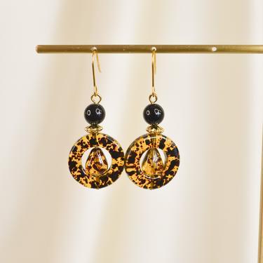 circle resin dangle drop earring, vintage earring, boho earring, minimal earring, gift for her, resin drop earring, resin dangle earring by melangeblancdesigns
