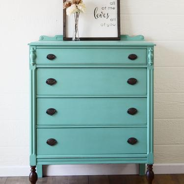 SOLD Antique Teal Highboy Dresser, Stained Dipped Legs, Refinished Painted Dresser, Statement Piece, Shabby Chic Furniture, 4 Drawer Dresser by ARayofSunlight
