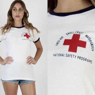 Champion Blue Bar T Shirt /. US Navy Red Cross T Shirt / Vintage 70s First Aid Military Tee / Small Craft Army Water Safety T Shirt Small S by americanarchive