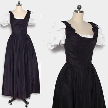 Vintage 80s Victor Costa Party Dress / 1980s Navy Tafetta with Frilly White Lace Full Length Gown by LuckyDryGoods