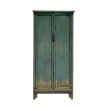 Chinese Oriental Distressed Pastel Moss Green Lacquer Slim Storage Cabinet cs6125E by GoldenLotusAntiques