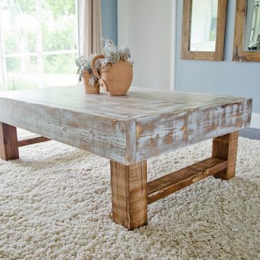 Rustic Coffee Table, Farmhouse Coffee Table,  Whitewashed Rustic Coffee Table, Distressed Coffee Table by ArcherHomeDesigns