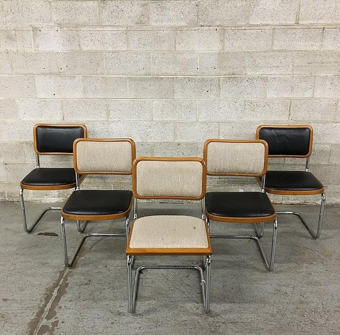 Vintage Marcel Breuer Style Chairs Retro Wood and Chrome Chairs Set of 5 Mod Black White and Brown Kitchen Chairs LOCAL PICKUP ONLY by RetrospectVintage215