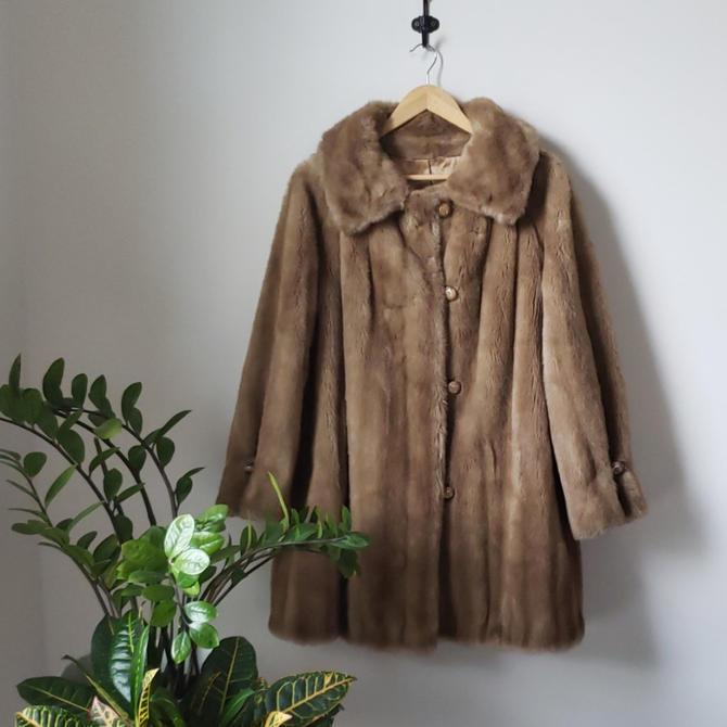 Vintage 1970s Grandella Swing Faux Fur Coat| by LoveOnceAgain