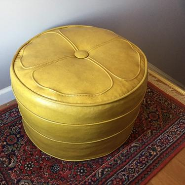Miraculous Mid Century Large Round Hassock Ottoman By Madmodworldvintage Machost Co Dining Chair Design Ideas Machostcouk