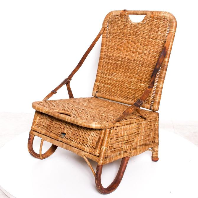 Vintage Folding Beach Chair Woven Wicker and Leather Sculpted Portable Travel by AMBIANIC